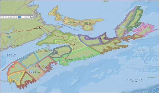 NS Counties with colour bands around inside of each polygon