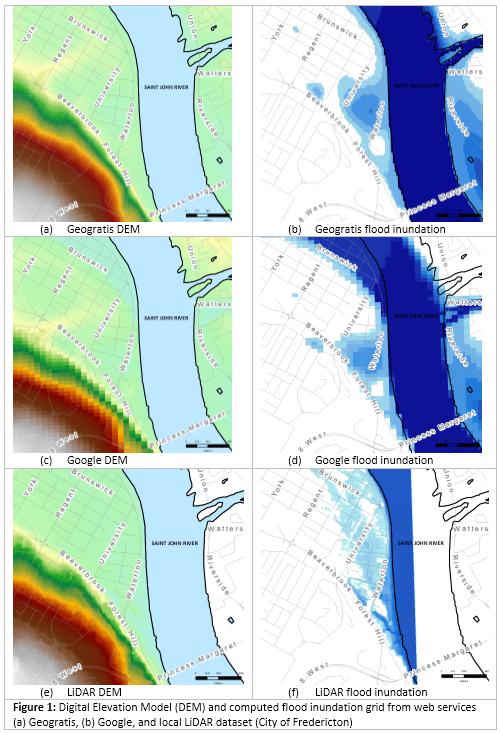 Digital Elevation Model (DEM) and computed flood inundation grid from web services (a) Geogratis, (b) Google, and local LiDAR dataset (City of Fredericton)