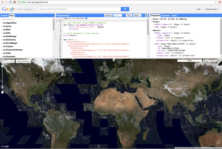 Google Earth Engine (Source: Google Earth Developer Site)