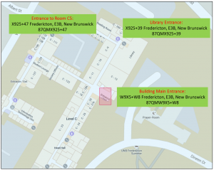 Figure 2. Open Location Code (OLC) encoding. The three locations in Faculty of Engineering building (Figure 1) are contained in areas assigned unique 10-character codes. Each area corresponds to approx. 14mx14m. https://plus.codes/87QMW9X5+W8