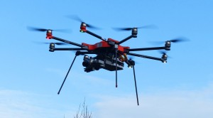 Octocopter in flight.