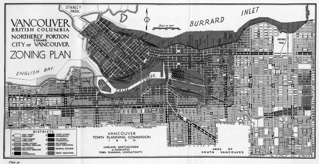 Vancouver Zoning Plan, 1930, shows a limit of six stories for the West End