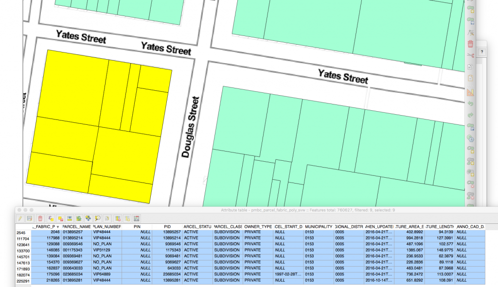 Figure 3: PMBC Simple Map Viewer- data for a portion of downtown Victoria