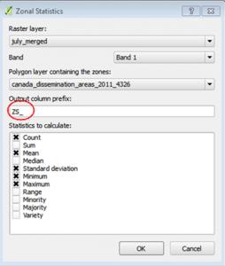 Zonal Statistics tool in QGIS