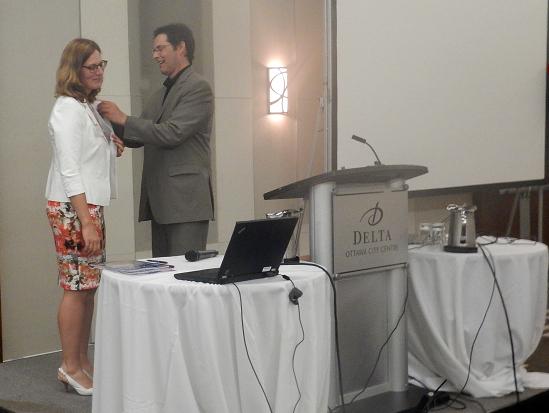Corinna Vester receives pin