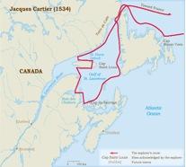 Jacques Cartier's Route of Exploration