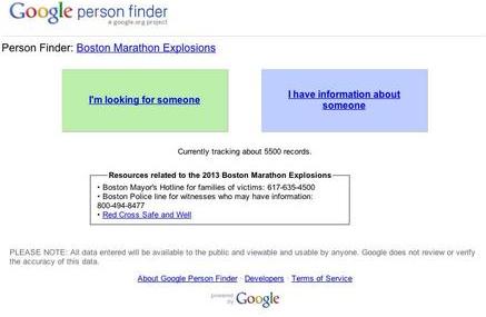 Boston Marathon Google Person Finder - active