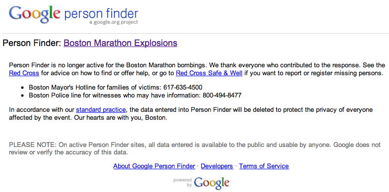 Boston Marathon Google Person Finder